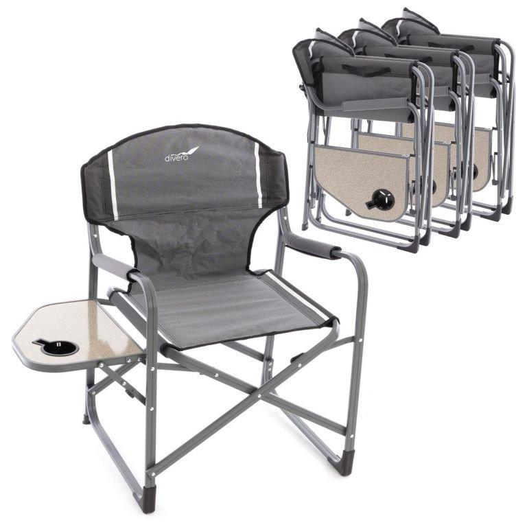 4x kempinková rozkládací židle se stolkem a držákem nápojů