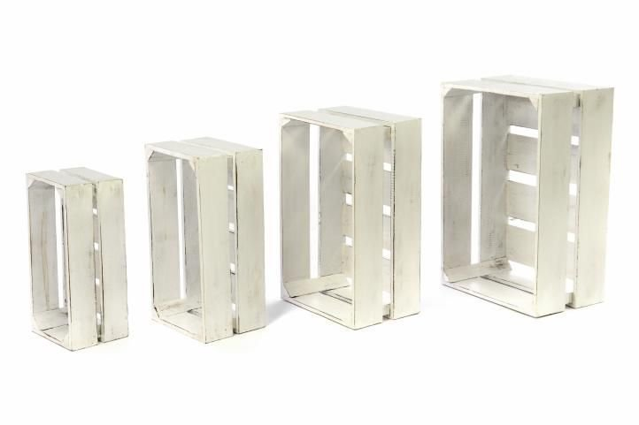 Sada drevených debničiek VINTAGE DIVERO - 3 ks biele