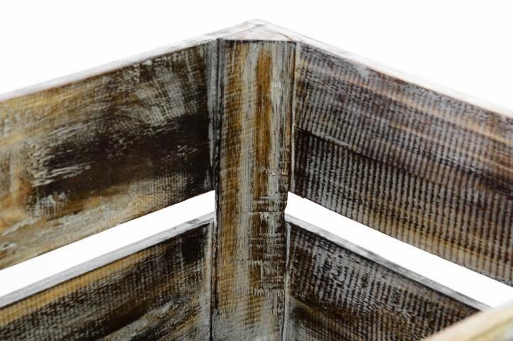 Sada 3x drevená debnička VINTAGE DIVERO hnedá - 44 x 28 x 19