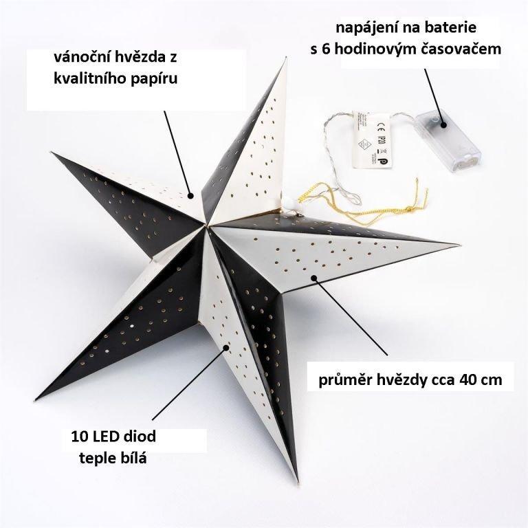 Vianočná dekorácia hviezda s časovačom - 10 LED čierno-biela