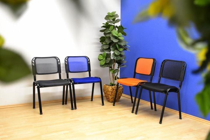 Sada 4 stohovateľných kongresových stoličiek - oranžová