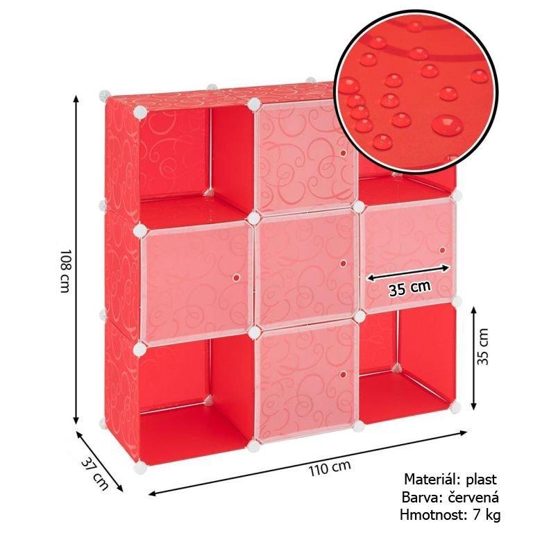 Červený regál - zásuvný systém