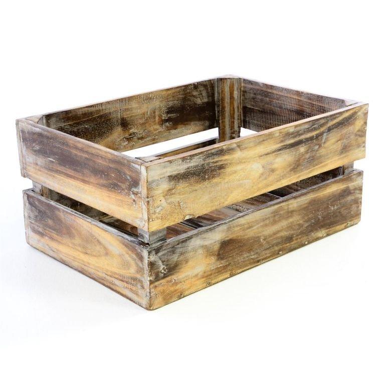 Dřevěná bedýnka VINTAGE DIVERO hnědá - 42 cm x 23 cm
