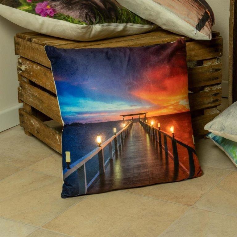 Dekorativní polštář s LED osvětlením, Molo - 38 x 38 cm