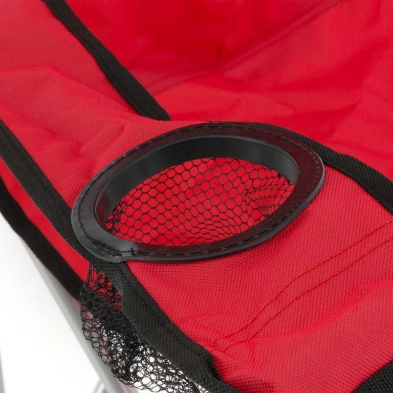 Skládací kempingová židle s držákem nápojů, červená