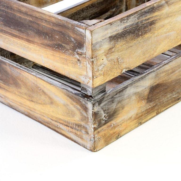 DIVERO Vintage bedna, dohněda opálená 42 cm x 23 cm