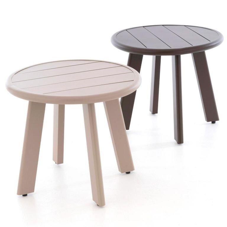 Kulatý hliníkový stolek, béžový