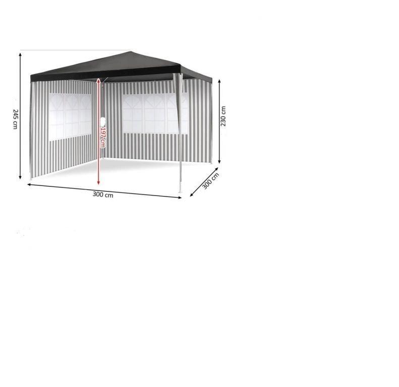Zahradní párty stan - antracit, 3 x 3 m + 2 bočnice