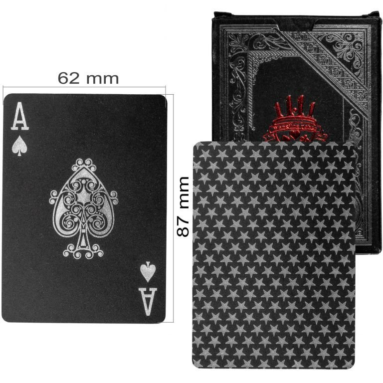 Poker karty plastové - čierne/strieborné