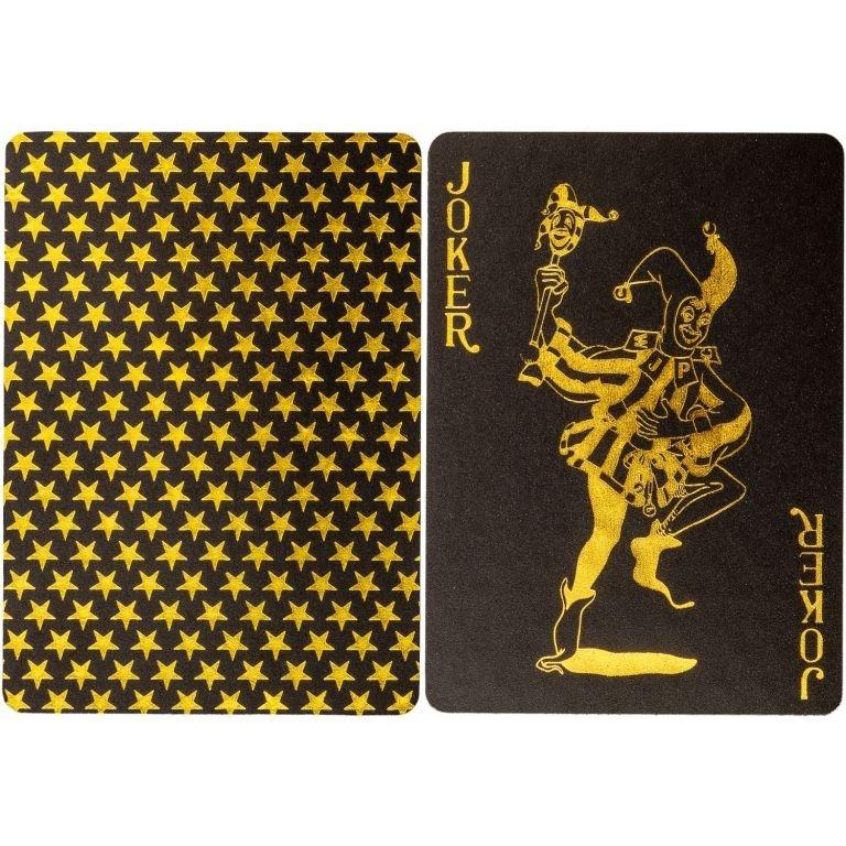 Poker karty plastové - čierne/zlaté