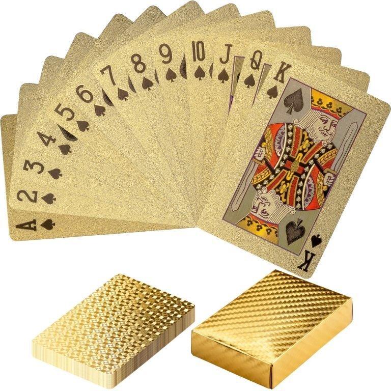 Poker karty plastové - zlaté