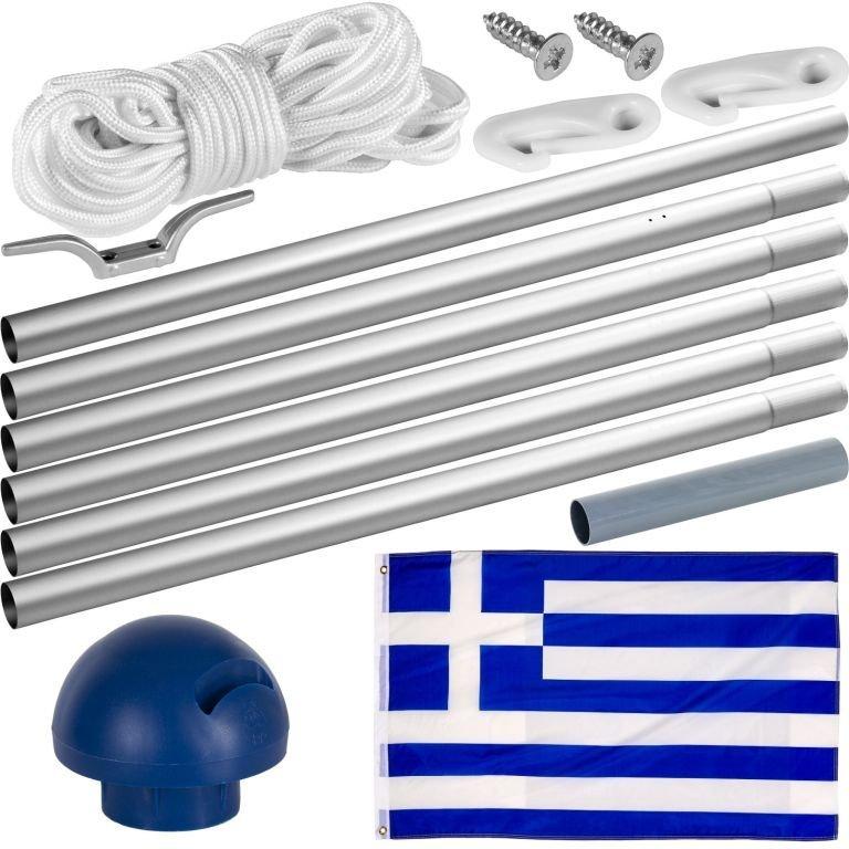 Vlajkový stožiar vrátane vlajky Grécko - 650 cm