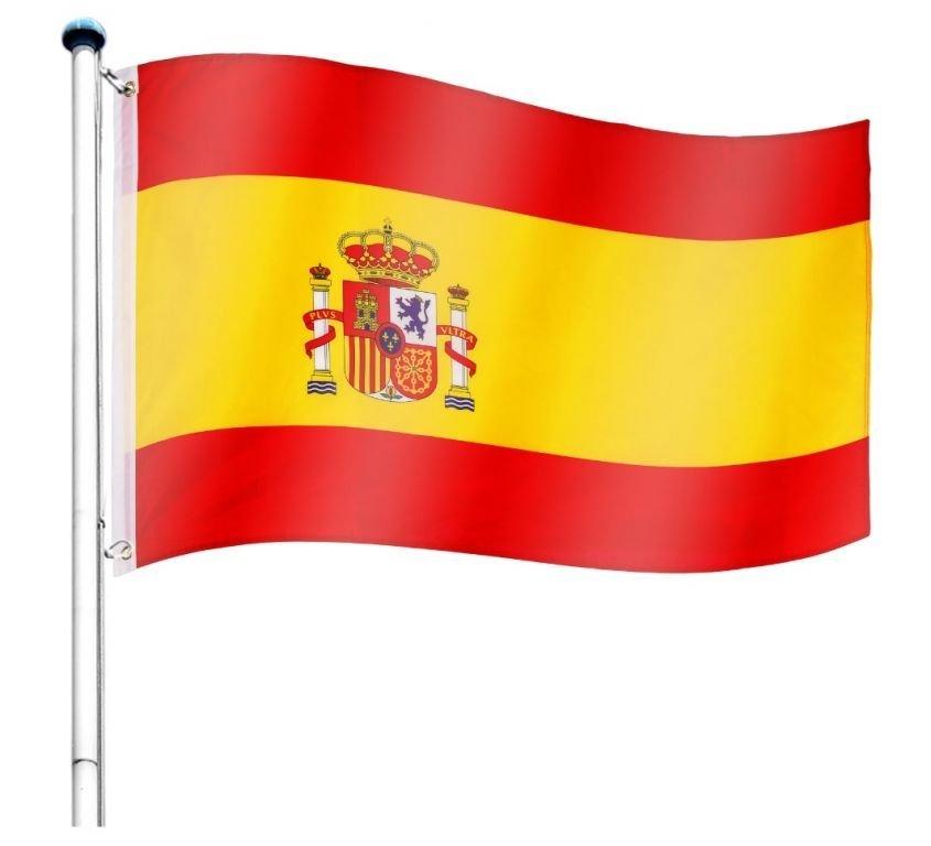 Vlajkový stožiar vrátane vlajky Španielsko - 650 cm
