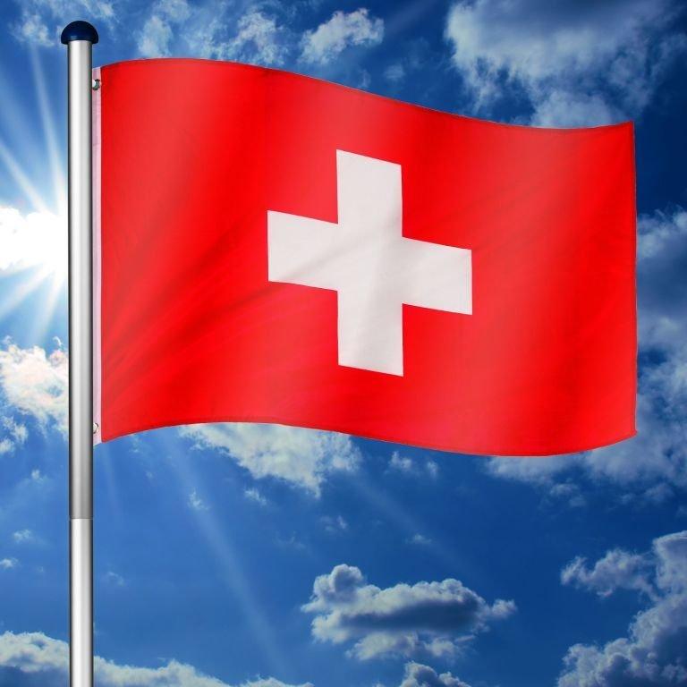 Vlajkový stožiar vrátane vlajky Švajčiarsko - 650 cm