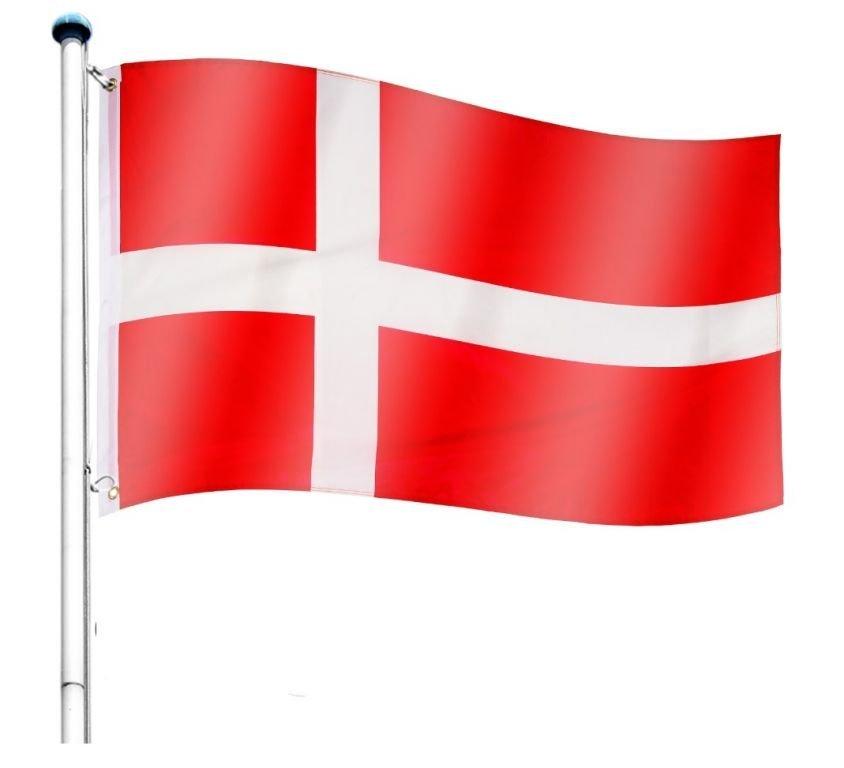 Vlajkový stožiar vrátane vlajky Dánsko - 650 cm
