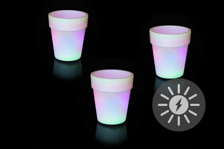 Solárne osvetlenie - kvetináč so zmenou farieb - 3 kusy