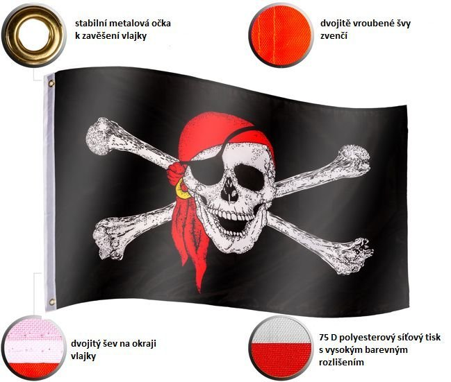 Vlajkový stožiar vrátane pirátskej vlajky - 650 cm