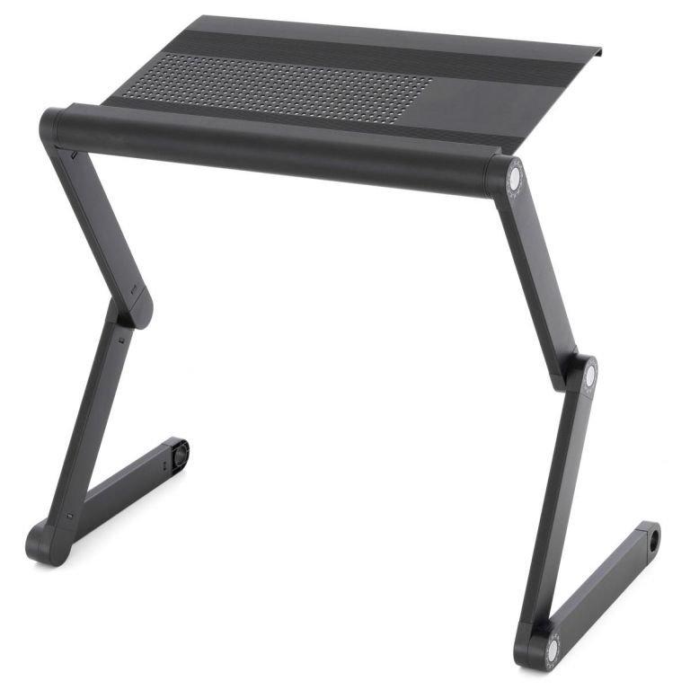 Stolík na laptop nastaviteľný s vetracími štrbinami - čierny