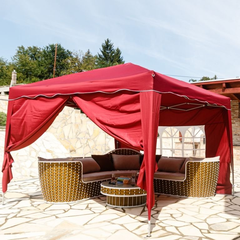 Instent zahradní párty stan - 3 x 3 m, vínová + 2 bočnice
