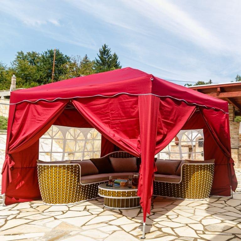 Instent zahradní párty stan - 3 x 3 m, vínová + 4 bočnice