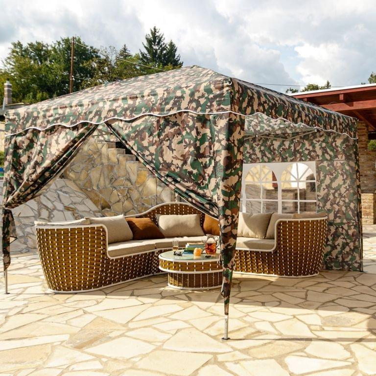 Instent zahradní párty stan - 3 x 3 m, maskáčová + 2 bočnice