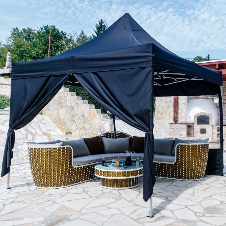 INSTENT zahradní párty stan - 3 x 3 m, černý + 2 bočnice