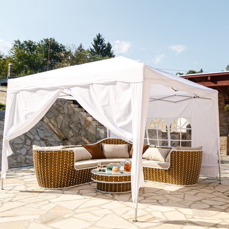 INSTENT zahradní párty stan - 3 x 3 m, bílá + 2 bočnice