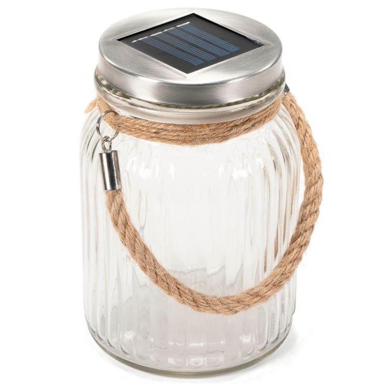 Solární světlo, sklenice - 3 LED, teplá bílá