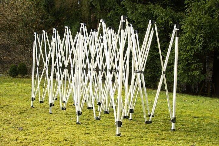 Záhradný párty stan nožnicový – červený, 3 x 9 m