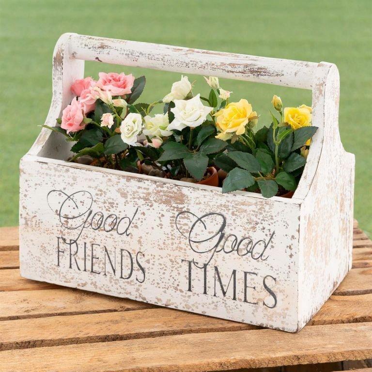 Dekorativní květinový box - 30 x 17 x 25 cm, bílý
