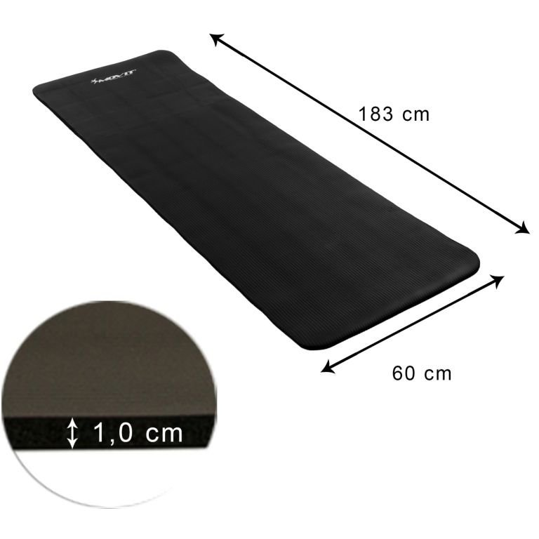 Gymnastická podložka MOVIT 183 x 60 x 1 cm - čierna