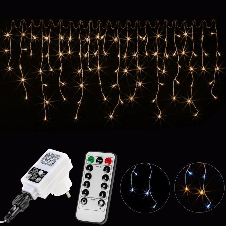 Vianočný svetelný dážď 400 LED teplá biela - 10 m + ovládač