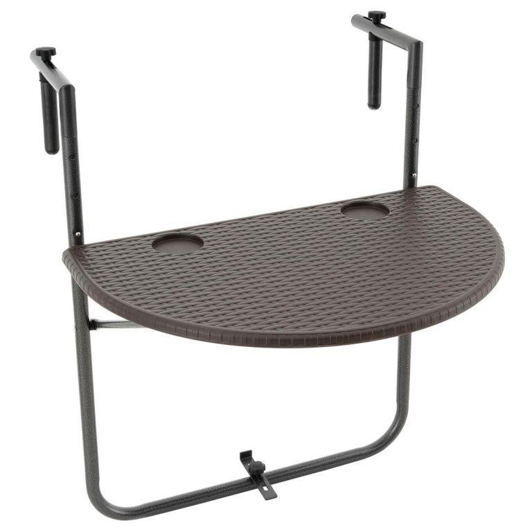 Závesný sklopný stolík ratanového vzhľadu - hnedý