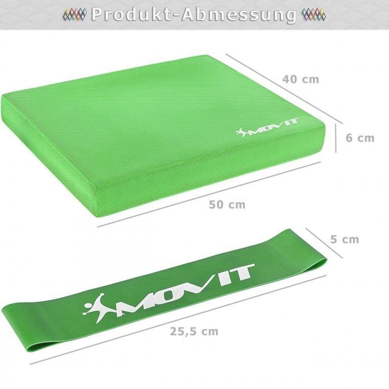 Balanční polštář s gymnastickou gumou - zelený