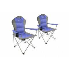 Set skladacia kempingová rybárska stolička Divero Deluxe 2 kusy - modro / sivá