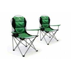 Sada 2 ks skladacia kempingová rybárska stolička Divero Deluxe - zelená/čierna