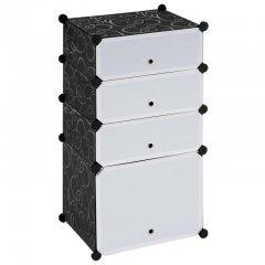 Moderní botník černý/bílý - zásuvný systém