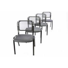 Sada 4 stohovateľných kongresových stoličiek - sivá