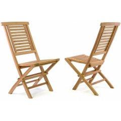 Sada 2 ks záhradnej stoličky DIVERO Hantown - teakové drevo