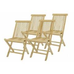 Skladacia stolička z teakového dreva DIVERO, 4 kusy