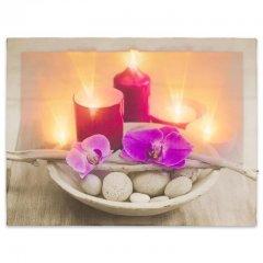 Nástěnná malba orchidej se svíčkami, 6 LED, 30 x 40 cm