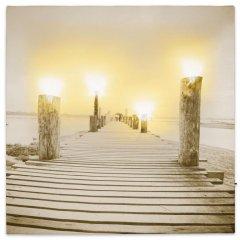 Nástenná maľba hmlisté ráno pri jazere, 4 LED, 40 x 40 cm