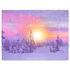 Nástenná maľba zasnežený les, 41 LED, 30 x 40 cm