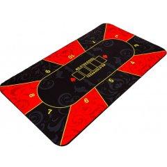 Skládací pokerová podložka, červená/černá, 160 x 80 cm