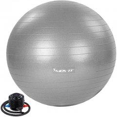 MOVIT Gymnastický míč s nožní pumpou, 85 cm, šedý