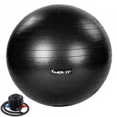 MOVIT Gymnastická lopta s nožnou pumpou, 75 cm, čierna