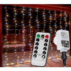 Vianočný záves - 3 x 3 m, 300 LED, teple/studeno biely