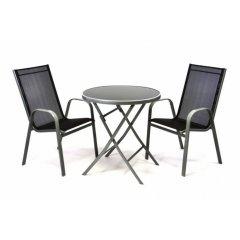 Záhradný set dvoch kresiel a skleneného stolíka so sklápacou doskou