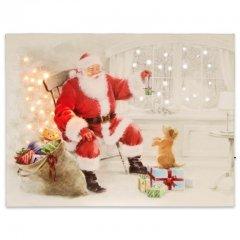 Nástěnná malba Santa Claus s psíkem, 40 LED, 30 x 40 cm