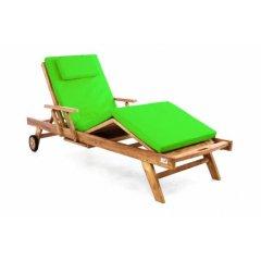 Záhradné drevené lehátko DIVERO z teakového dreva s podložkou - svetlozelená